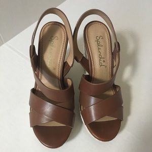 Splendid Brown Leather and Braided Rope Wedges